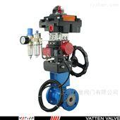 VT2BDW23AF46衬氟全包碳钢法兰气动球阀