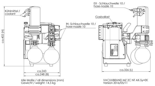 MZ 2C NT +AK SYNCHRO+EK - 尺寸规格表